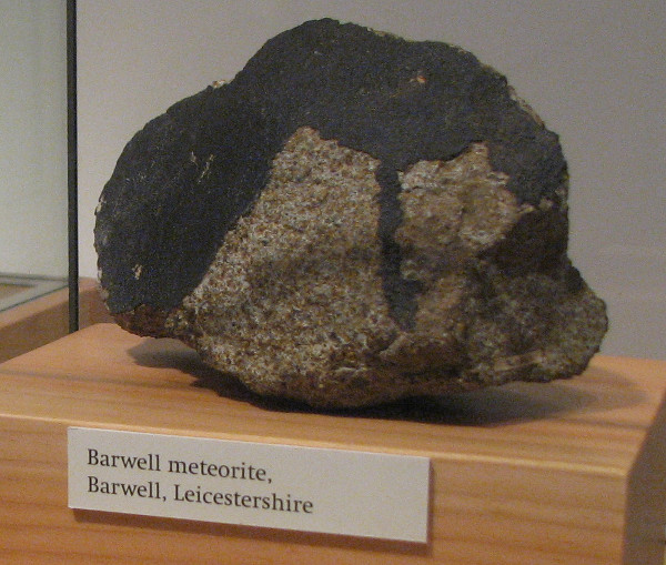 A piece of the Barwell Meteorite in New Walk Museum, Leicester