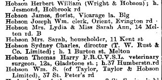 Hobsons in Wright's Directory, 1903