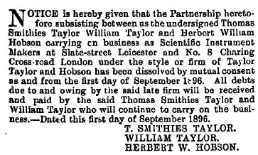 Dissolution of Taylor, Taylor and Hobson, 1896
