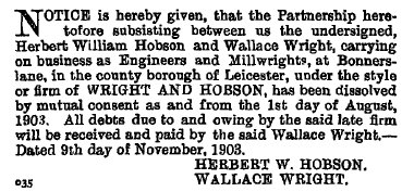 Dissolution of Wright and Hobson, 1903.