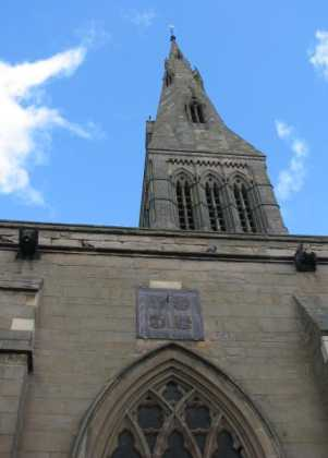 Leicester Cathedral, spire and sundial.