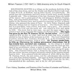 William Pearson - 1868 directory entry for South Kilworth