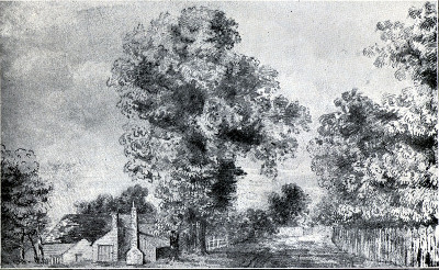 Sketch by Wallace of a village near Leicester.